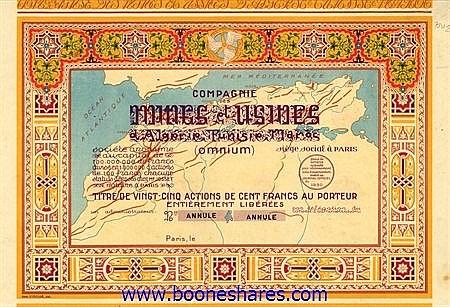 MINES ET USINES D'ALGERIE-TUNISIE-MAROC (OMNIUM), CIE. DES