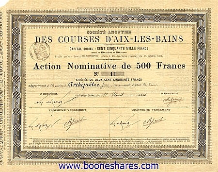 COURSES D'AIX-LES-BAINS, S.A. DES