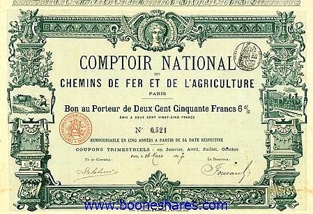 COMPTOIR NATIONAL DES C.D.F. ET DE L'AGRICULTURE