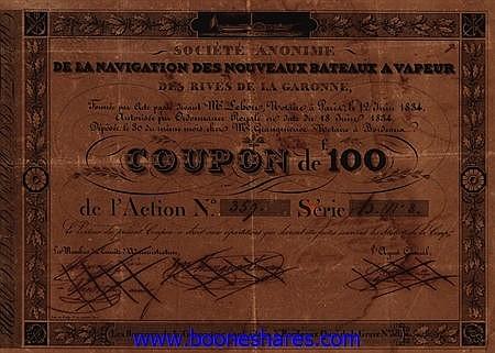 NAVIGATION DES NOUVEAUX BATEAUX A VAPEUR DES RIVES DE LA GARONNE, S.A.