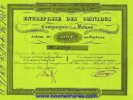 ENTREPRISE DES OMNIBUS - CIE. CHARLES BENSA