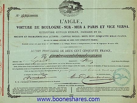 L'AIGLE, VOITURE DE BOULOGNE-SUR-MER A PARIS ET VICE VERSA - ENTREPRISE OSWALD MERLEN, ZACHARIE ET CIE.