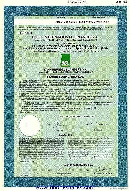 B.B.L. INTERNATIONAL FINANCE S.A. - LERNOUT & HAUSPIE SPEECH PRODUCTS S.A.