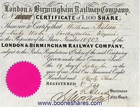 LONDON AND BIRMINGHAM RAILWAY CO. (2 pieces)