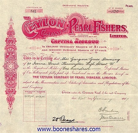 CEYLON CO. OF PEARL FISHERS, LTD