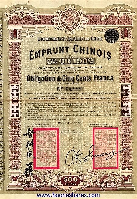 GOUV. IMPERIAL DE CHINE - C.D.F. ENTRE CHENG-TING-FOU ET TAI-YUAN-FOU
