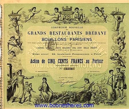 GRANDS RESTAURANTS BREBANT ET BOUILLONS PARISIENS, CIE. NOUVELLE DES