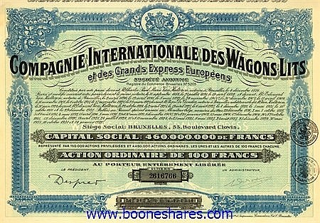 WAGONS-LITS ET DES GRANDS EXPRESS EUROPEENS S.A., CIE. INTERNATIONALE DES