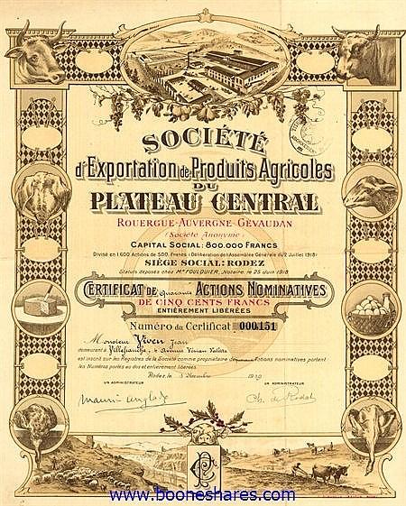 EXPORTATION DE PRODUITS AGRICOLES DU PLATEAU CENTRAL, SOC. D'