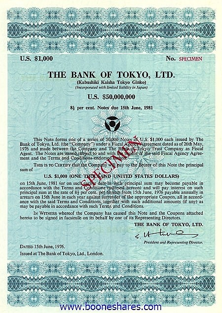 BANK OF TOKIO, LTD.