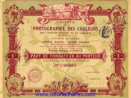 PHOTOGRAPHIE DES COULEURS PAR L'ACTION DIRECTE DE LA LUMIERE (2 types)
