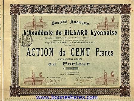 ACADEMIE DE BILLARD LYONNAISE, S.A.