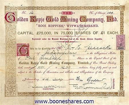GOLDEN KOPJE GOLD MINING CO., LTD.