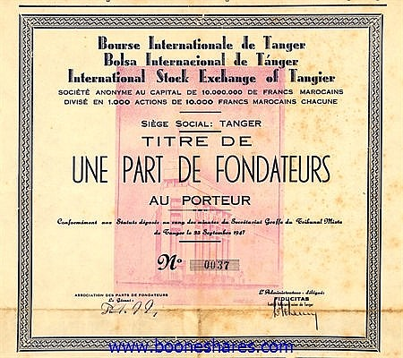 BOURSE INTERNATIONALE DE TANGER