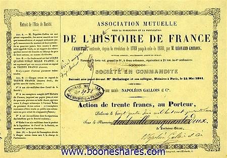 ASSOCIATION MUTUELLE POUR LA PUBLICATION ET LA PROPAGATION DE L'HISTOIRE DE FRANCE