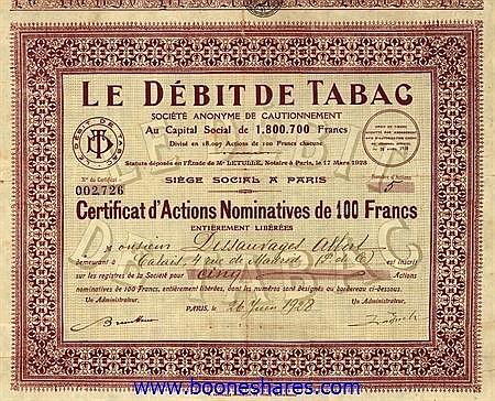 LE DEBIT DE TABAC S.A.