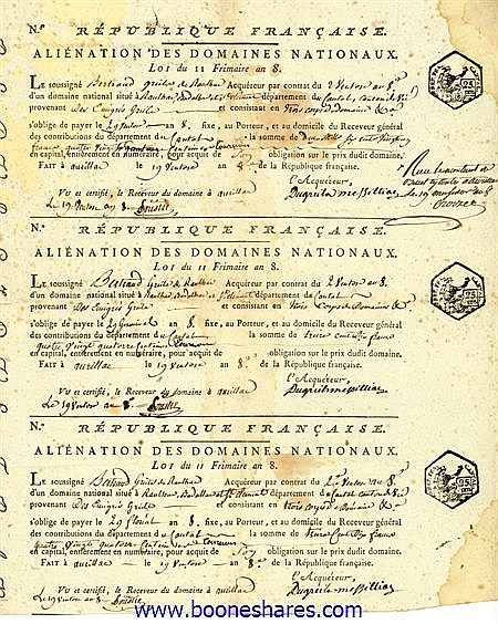 REPUBLIQUE FRANCAISE - ALIENATION DES DOMAINES NATIONAUX