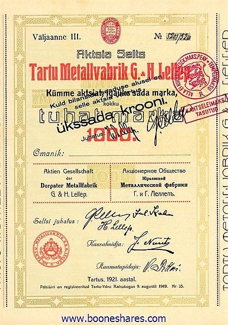 TARTU METALLFABRIK G. & H. LELLEP
