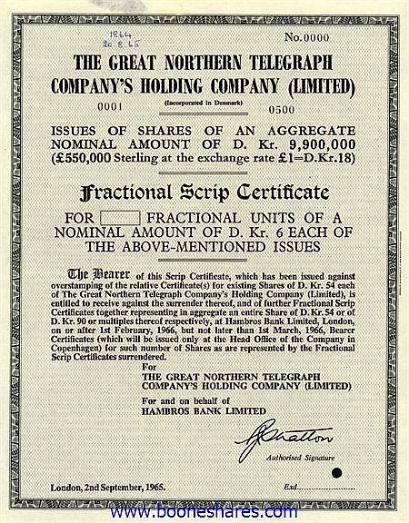 GREAT NORTHERN TELEGRAPH COMPANY'S HOLDING CO. LTD