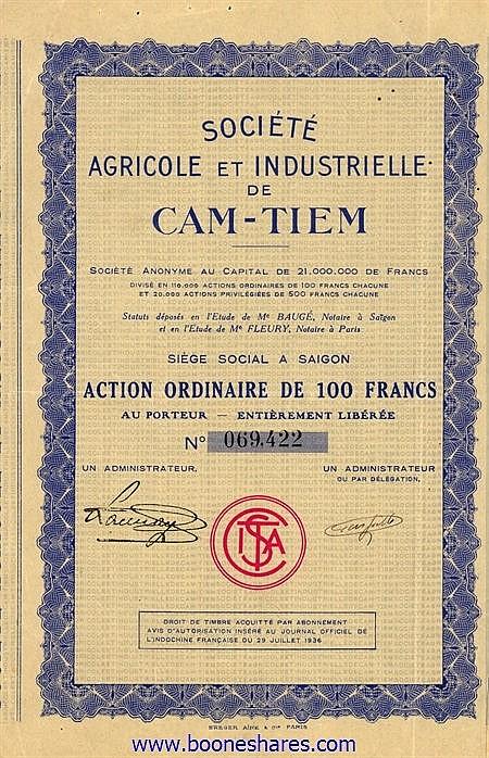 AGRICOLE ET INDUSTRIELLE DE CAM-TIEM