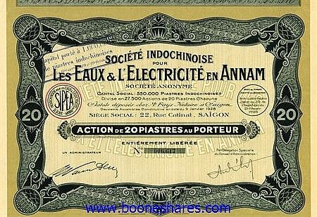 EAUX& L'ELECTRICITE EN ANNAM, SOC.