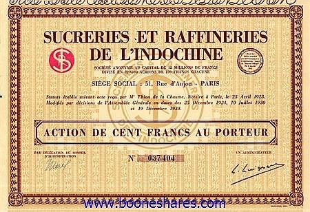 SUCRERIES ET RAFFINERIES DE L'INDOCHINE S.A.