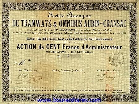 TRAMWAYS & OMNIBUS AUBIN-CRANSAC, S.A. DE