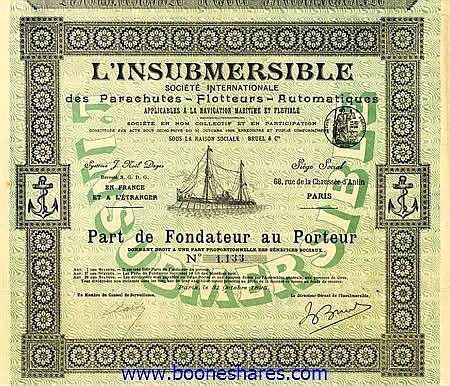 L'INSUBMERSIBLE, SOC. INTERN. DES PARACHUTES-FLOTTEURS-AUTOMATIQUES