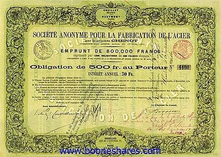 FABRICATION DE L'ACIER PAR LES PROCEDES CHENOT, S.A. POUR LA (2 types)
