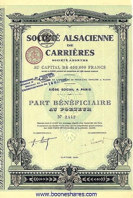 CARRIERES, SOC. ALSACIENNE DE