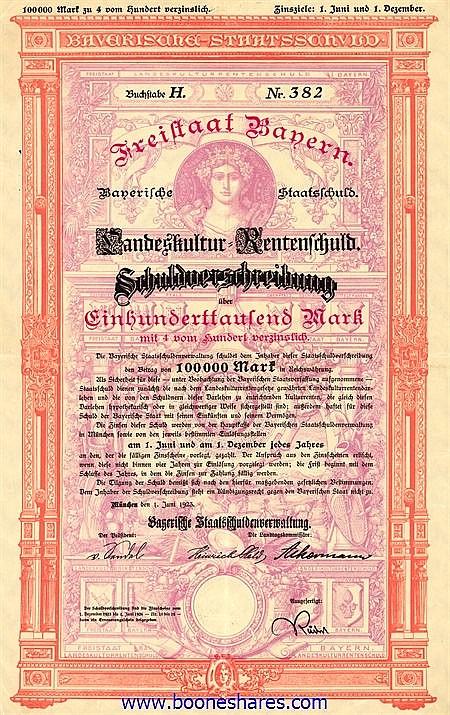 FREISTAAT BAYERN - LANDESKULTUR RENTENSCHULD