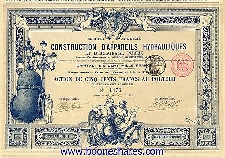 CONSTRUCTION D'APPAREILS HYDRAULIQUES ET D'ECLAIRAGE PUBLIC, S.A.