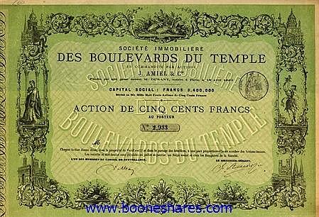 BOULEVARDS DU TEMPLE, SOC. IMMOBILIERE (J. AMIEL & CIE)
