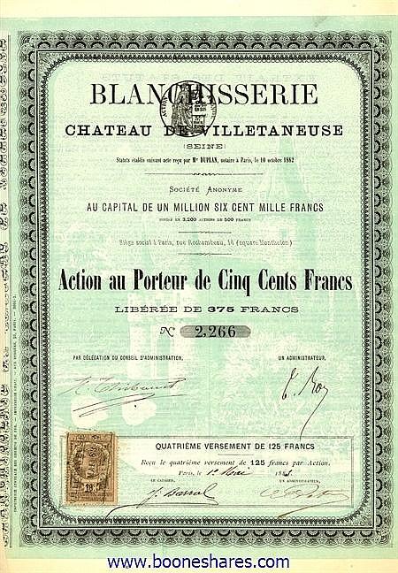 BLANCHISSERIE DU CHATEAU DE VILLETANEUSE (SEINE)