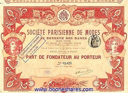 MODES AU BONHEUR DES DAMES, SOC. PARISIENNE DE