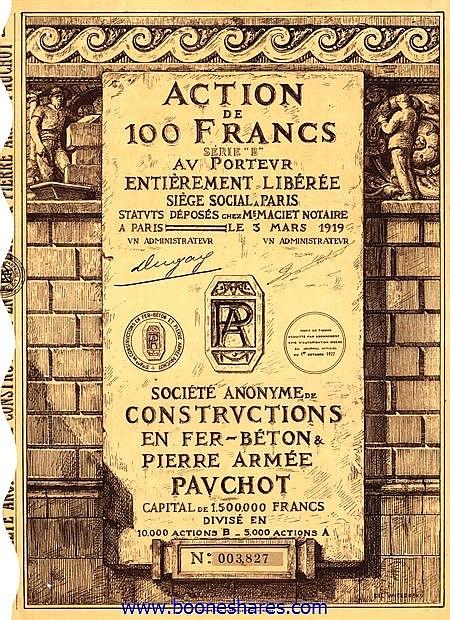CONSTRUCTIONS EN FER-BETON & PIERRE ARMEE PAUCHOT, S.A. DE