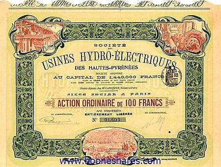 USINES HYDRO-ELECTRIQUES DES HAUTES-PYRENEES, SOC. DES