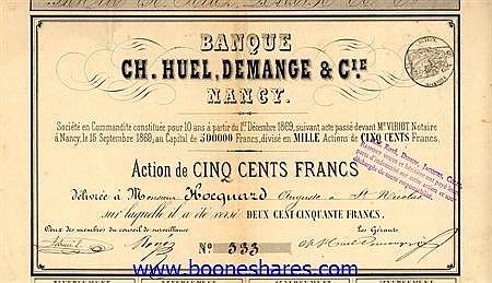 BANQUE CH. HUEL, DEMANGE & CIE.