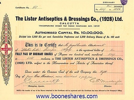 LISTER ANTISEPTICS & DRESSINGS CO.