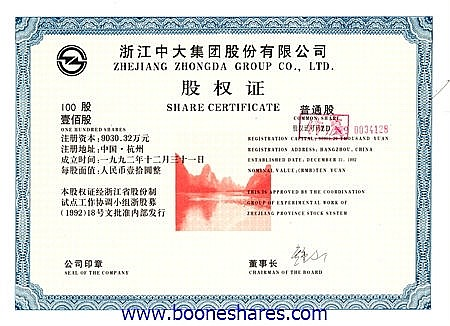 ZHEJIANG ZHONGDA GROUP CO. LTD