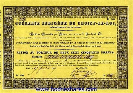 SUCRERIE INDIGENE DE CHOISY-LE-ROI, DEPARTEMENT DE LA SEINE