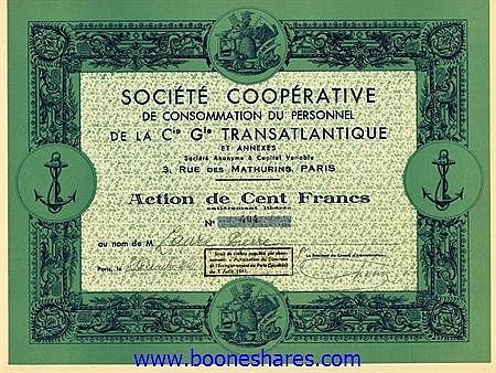 CONSOMMATION DU PERSONNEL DE LA CIE. GLE. TRANSATLANTIQUE ET ANNEXES, SOC. COOPERATIVE DE