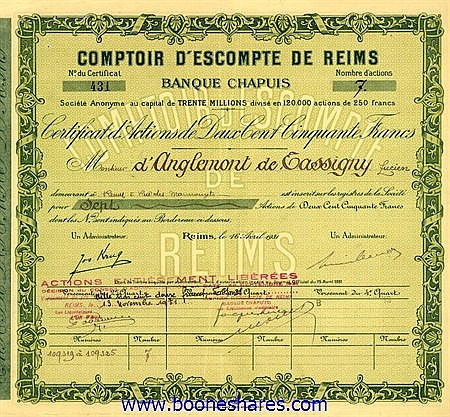 COMPTOIR D'ESCOMPTE DE REIMS CHAPUIS (2 types)