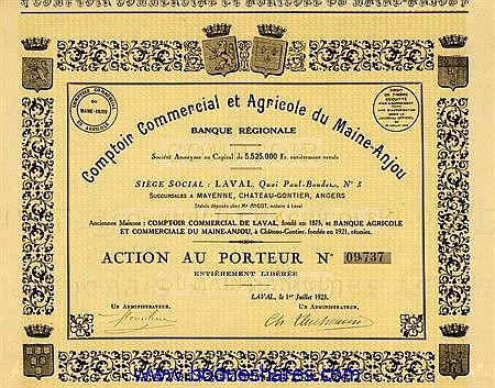 COMPTOIR COMMERCIAL ET AGRICOLE DU MAINE-ANJOU BANQUE REGIONALE S.A.