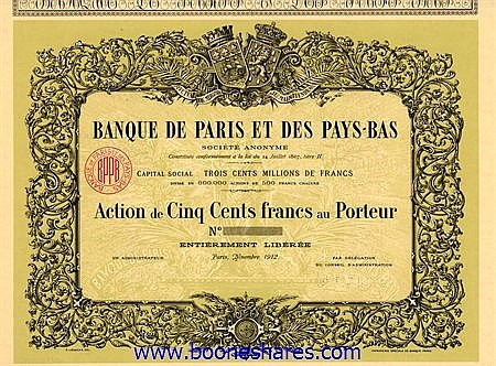 COLLECTION: BANQUE DE PARIS ET DES PAYS-BAS (9 types)