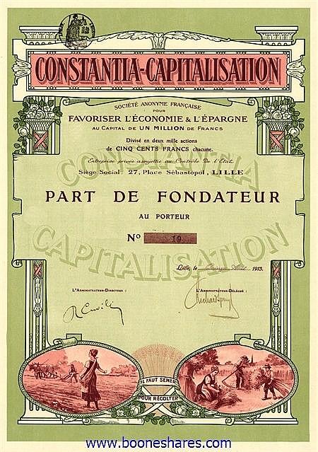 CONSTANTIA-CAPITALISATION S.A. FR. POUR FAVORISER L'ECONOMIE & L'EPARGNE
