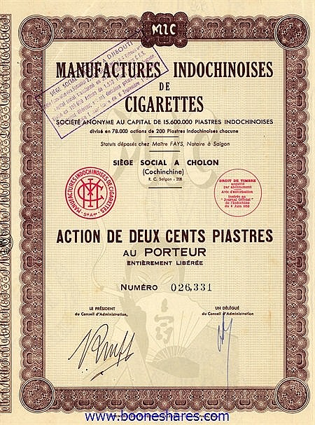 MANUFACTURES INDOCHINOISES DE CIGARETTES S.A.