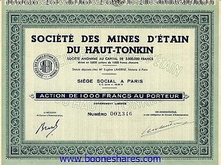 MINES D'ETAIN DU HAUT-TONKIN, SOC.