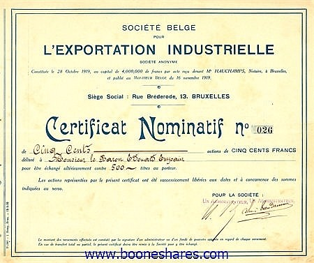 EXPORTATION INDUSTRIELLE, SOC. BELGE
