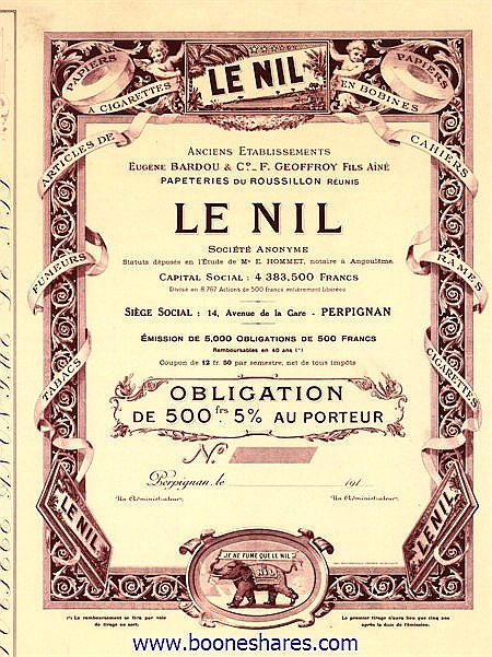 LE NIL S.A. - ANC. ETS. EUG. BARDOU & CO.-F. GEOFFREY FILS AINE, PAPETERIES DU ROUSSILLON